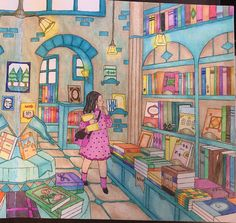 My Colorful Town by Chiaki Ida Right page: interior of bookstore / library Completed adult coloring page done by colorist: Jax