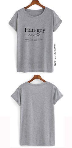 Grey Short Sleeve Hangry Print Loose T-Shirt