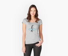 Check out our Shredding Penguin women's fitted scoop neck T-shirt here!