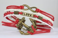 MOVING~ Anchor Bracelet, Love Bracelet, Infinity Bracelet, Red White Bracelet, Gift For Her, Girlfriend Gift, Multi Strand, ilovecheesygrits by ilovecheesygrits on Etsy