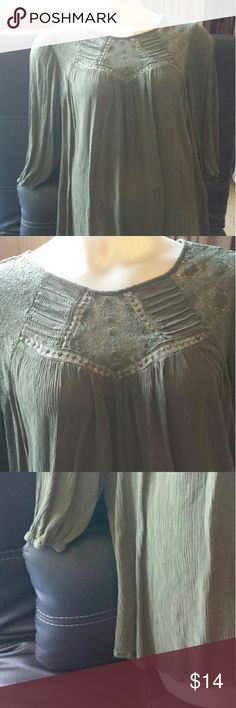 Loose fitting flowy plus size/maternity blouse Forest green top with flowing cut, lace yokes in front and back, back has a single button teardrop closure. Tag says maternity but was used just for extra comfort. Excellent used condition. Liz Lange Tops Blouses