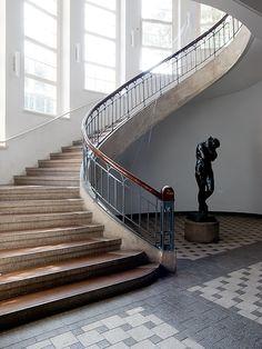 Sunny white stairway by Henry Van de Velde