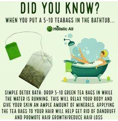 Grüner Tee, Entgiftungsbad - Bath and Body - Detox Green Tea Bath, Green Tea Detox, Bath Tea, Detox Tea, Detox Bath Recipe, Bath Detox, Detox Bath Benefits, Health Benefits, Green Tea Benefits