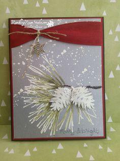 Billie Moan: Rambling Rose Studio - Merry 'n Bright... - 9/8/14  (SU Holiday 2014: Ornament Pine, Good Greetings, Gorgeous Grunge (Heat embossed - White pwdr)