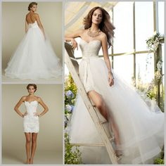 Cheap skirt and top dress, Buy Quality dress skirts women directly from China skirt women Suppliers:  Simple 2015 New Arrival Sexy Bride Empire Short Mini Lace Detachable Wedding Dress With Removable Skirt With Train Brid
