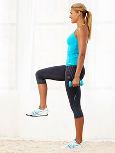 The Balanced Biceps Curl #exercise works your abs, biceps, butt and legs.