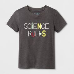 Toddler Boys' Science Rules Short Sleeve T-Shirt - Cat & Jack™ Charcoal : Target