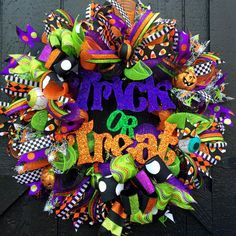 Halloween Trick or Treat Deco Mesh Door Wreath by FancyWreathLady #TrickorTreat #Halloween