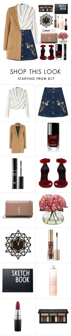 """""""Camel Coat"""" by lovesammi98 ❤ liked on Polyvore featuring Topshop, mel, Chanel, MAKE UP FOR EVER, Yves Saint Laurent, Too Faced Cosmetics, Design Letters, Drybar, MAC Cosmetics and Kat Von D"""