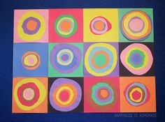Kandinsky Collage Art Lesson - Farbstudie Quadrate Concentric Circles