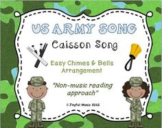 """***$3.00 ***  This product includes the following materials: •Lesson Plan, Objectives, Procedures  •Musical arrangement for US Army Song (Caisson Song)  •Sheet with lyrics and rhythms  •Individual printable sheets for each assigned chime or bell (G4-D6)  Age Appropriate for: •Upper elementary •Middle School •High School •Adult  This product uses a """"non-music reading"""" approach."""