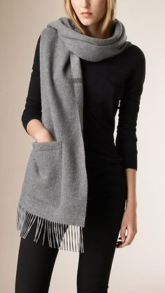 Burberry Pale Grey Merino Wool Cashmere Stole - Warm wool cashmere stole with a tonal check reverse Fringing at both ends, patch pockets. Discover the scarves collection at Burberry.com