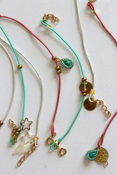 I think 2013 is the summer is the summer of bracelets, I feel like I have made hundreds of versions. I wear a bunch, leave them around th. Leather Charm Bracelets, Leather Jewelry, Beaded Jewelry, Jewelry Bracelets, Leather Cord, Bracelet Making, Jewelry Making, Modern Jewelry, Jewelry Crafts
