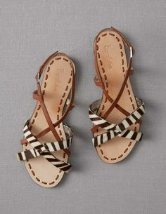 Boden Women's Brand New Strappy Sandals Zebra Cow Hide Tan Leather Flat