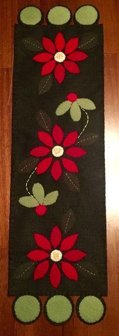 Handmade Felted Wool Appliqué Poinsettias Table Runner Penny Rug Christmas | eBay