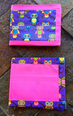 Duct Tape Bi Fold Wallets - Hoot & Holla Pink and Purple Owls (Set of 2)