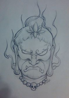 Fudo Myoo no Kao by on DeviantArt Traditional Japanese Tattoo Designs, Scary Drawings, Oriental, Lolo, Japan Art, Mini Tattoos, Chicano, Line Drawing, Amazing Art
