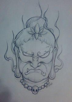 Fudo Myoo no Kao by on DeviantArt Traditional Japanese Tattoo Designs, Scary Drawings, Oriental, Lolo, Japan Art, Mini Tattoos, Chicano, Line Drawing, Buddhism