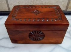 Vintage Hand Carved/Chipped Wood Box with Felt Lining by 745main, $28.00