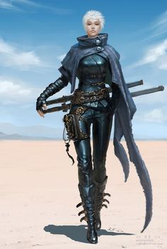 woman in leather armor in desert