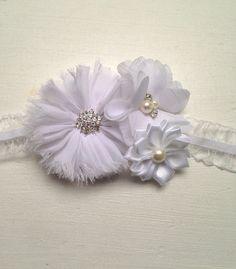 White flower headband White chiffon White by LaBellaRoseBoutique
