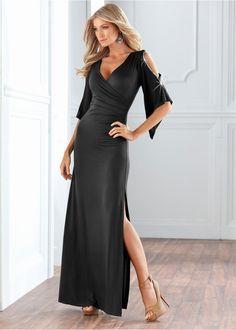 вечернее платье макси с вырезом V и вырезом сбоку, с открытыми плечами.