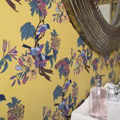 HOME :: HOME ACCESSORIES :: Wallpaper & Stickers :: Golden Bunting Birds Wallpaper