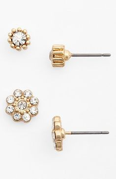 BP.+Crystal+Flower+Stud+Earrings+(2-Pack)+(Juniors)+available+at+#Nordstrom