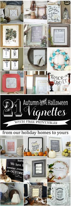 21 Fall FREE Printables - see how to decorate a cute vignette around each printable! eclecticallyvintage.com