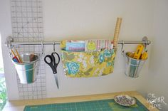 Tutorial :: Hanging Fabric Pocket For The Ikea Fintorp Rail (perfect wall storage!) mount to side of new cutting table for all my current tools Fabric Storage, Wall Storage, Craft Storage, Food Storage, Ikea Office Organization, Sewing Room Organization, Organizing Ideas, Coin Couture, Hanging Fabric