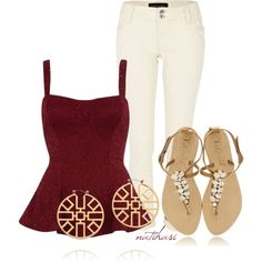"""""""Red Wine Summer Outfit"""" by natihasi on Polyvore"""