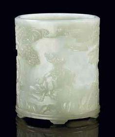 Rare et important potà pinceaux en jade blanc sculpté, bitong. Chine, dynastie Qing, époque Qianlong (1736-1795)