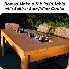 DIY Patio Table with beer cooler. Getting on my patio this summer! Diy Terrasse, Beer Cooler, Table Cooler, Diy Cooler, Cool Tables, Bar Tables, Patio Tables, Picnic Tables, Deck Chairs