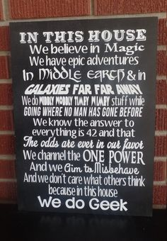 In This House We Do Geek Sign. Harry Potter by HeavensAvenueSigns