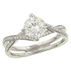 Fancy Twist Pave Diamond Engagement Ring with Split Shank and Matching Wedding Band Diamond .22cttw (center Stone Not Included)