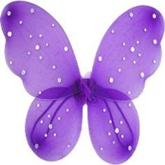 "Purple Sequin Butterfly Wings , Elastic Arm Straps Glitter 20 x 15"" Wings Tutu"