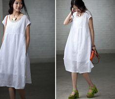 Loose Fitting Long Maxi Dress - Summer Dress in White - Short Sleeve Linen Sundress for Women. $72.00, via Etsy.