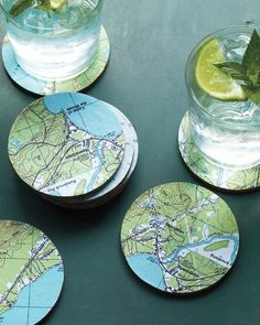 DIY Map coaster! Soooooo cute!!! Could make a set for weddings, baby showers, oh the places we'll go party.
