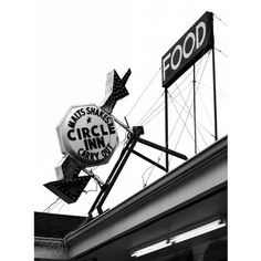 black and white Route 66 diner arrow sign 5x7 documentary art photo