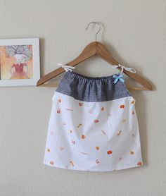 Organic cotton and denim linen baby summer dress 36 by tinytweets, $31.00