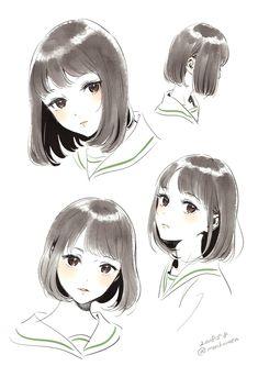 """気の向くままtumblr — 森倉円*5/20関西ティアT22さんのツイート: """"黒髪ロングちゃん… """" Anime Drawings Sketches, Anime Sketch, Manga Drawing, Cute Drawings, Poses References, How To Draw Hair, Art Reference Poses, Anime Art Girl, Cartoon Art"""
