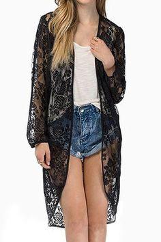 Elegant Sheer Lace Insert Open-front Tunic Kimono