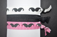 Items similar to Fold over elastic Mustache hair tie set of 3 no crease mustach FOE no fray no dent ponytail holder knotted ties no pull foldover elastic on Etsy Elastic Hair Ties, Tie Set, Mustache, Type, Search, Gallery, Etsy, Hair Tie, Moustache