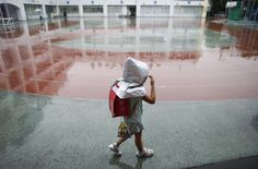 A school girl wearing a padded hood to protect her from falling debris, walks in school field during an earthquake simulation exercise at an elementary school in Tokyo September 1, 2015. The annual exercise is held nationwide on the anniversary of the 1923 Great Kanto Earthquake to practice the response to major natural disasters. REUTERS/Toru Hanai