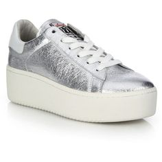 Ash Cult Metallic Leather Platform Sneakers ($230) ❤ liked on Polyvore featuring shoes, sneakers, apparel & accessories, metallic sneakers, retro shoes, leather lace up shoes, lacing sneakers and leather shoes