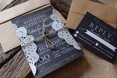 Vintage Wedding Invitation, Chalkboard Wedding Invitation, Rustic Wedding Invitation, Doily Wedding Invitation, Chic Wedding Invitation by CCPrintsbyTabitha on Etsy https://www.etsy.com/listing/203589101/vintage-wedding-invitation-chalkboard