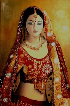 Painting of a pretty woman from India Indian Artwork, Indian Art Paintings, India Painting, Woman Painting, Rajasthani Painting, Indian Women Painting, Indian Goddess, India Art, Beautiful Paintings