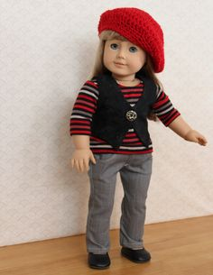 Gray skinny jean set for American girl doll, with a shirt, hat, vest, and red beret. $38.00, via Etsy.