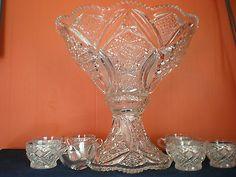 Vintage Brilliant Cut Glass Punch Bowl W/Pedestal, Ladle, 7 Cups and Clips