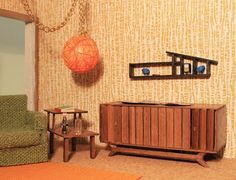 A miniature-mini ranch house shelf for the 1955 Betsy McCall DIY Dollhouse
